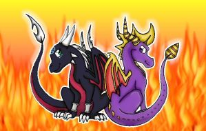 Spyro and Cynder by Ag3nt-Sparx