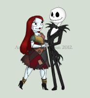 Jack and Sally Chibi by Redhead-K
