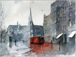 A red tram from Gliwice by sanderus