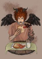 young devil breakfast by mouse-rat
