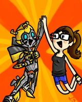 Epic High-five with Bumblebee by bigtimetransfan27