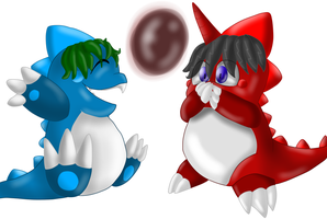 .:REQUEST:. Arsenut + Arseflute as Bubble Dragons by Kendulun-the-Kihoryu