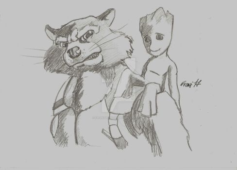 Guardians of the Galaxy Rocket Racoon Baby Groot by FranzArt0789