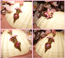 Sakura Vial - handmade Bottle Necklace by Ganjamira