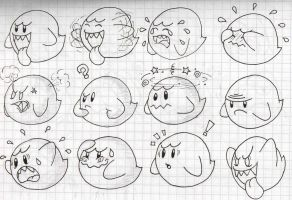 Boo's Expression Doodles by SuperLakitu