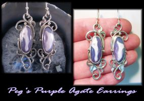 Peg's Purple Agate Earrings by jessa1155