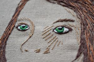 portrait embroidery  - the eyes by Pumora