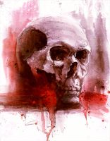 watercolor skull by freezu