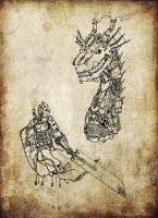 Steam Dragon and Knight by Van-Oost