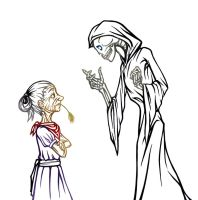 Death and old wrin lady by Dragonpunchi