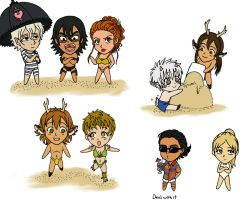 Elle and Mias on Vacation Chibis by SuirenShinju