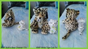 WWF build a bear cheetah and white tiger SALE! by Vesperwolfy87