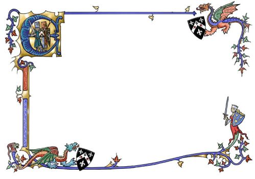 Medieval border with dragons by dashinvaine