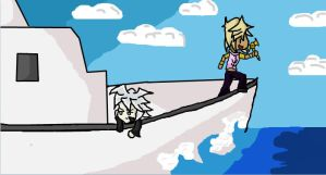 Marik and Bakura on a Boat by KuroKittyy