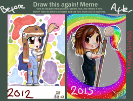 Before and After meme chibi self portrait by PandasWings