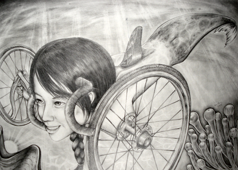 RISD Bicycle Drawing by poohp00hbear