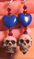 Heart and Skull Earrings Blue by Ms-Mordant