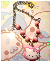 Pink and White Kitty Choker by BloodCross