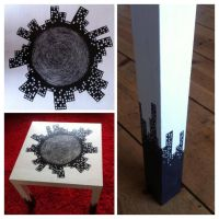 Hand painted table 'When Worlds Collide' by Fallmusic