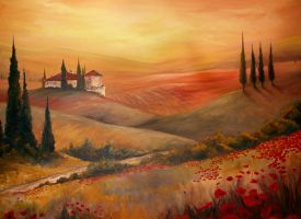 tuscan oil painting by teach