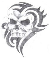 tribal skull by tattz79