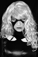 Black Cat Cosplay  in black and white by ozbattlechick
