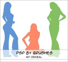 3 woman silhouettes for PSP8+ by Cerizal