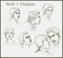 Wolf and Virginia Sketches by travelingpantscg