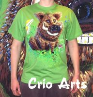 Wild Boar hand-painted T-shirt by CrioArts