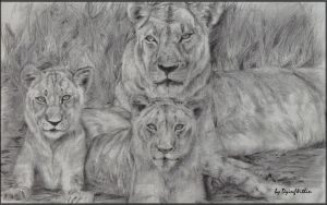 Lioness and Cubs by CeciliaSal