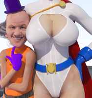 Power Girl (and Mr Mxyzptlk) by DolphinCoreX