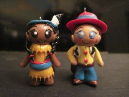 Cowgirl and Indian Girl Charms by Blazesnbreezes