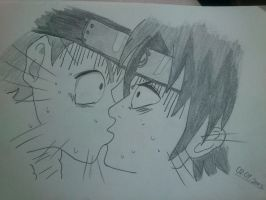 Naruto and Sasuke kiss by Haku-in-the-snow