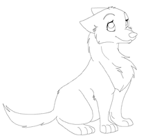 female puppy line art by icelion87