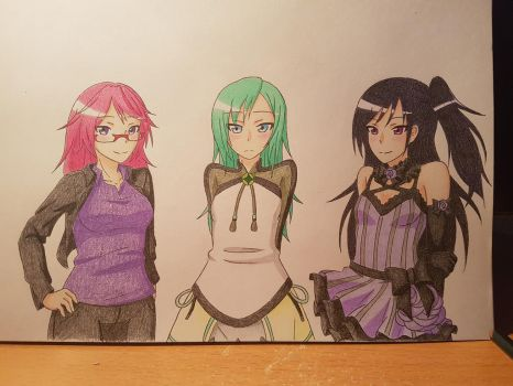 Orchid, Midori and Indigo~ (Commission) by XxSgtCampbell