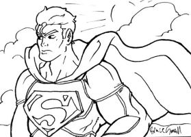 Superman Sketch Card BW by ibroussardart