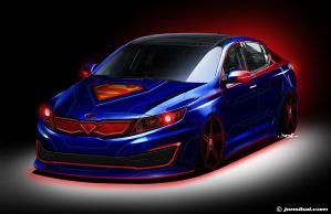 Superman-themed Optima Hybrid by jonsibal