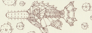 Steampunk Fish - Line by sharkdiver131