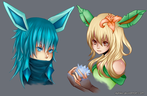Gijinka:Glaceon and Leafeon by brimochi