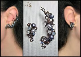 Northern sea ear cuff and stud by JuliaKotreJewelry