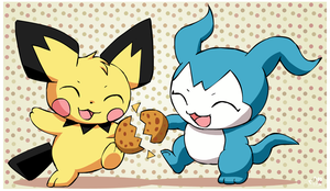 Pichu and Demiveemon by pichu90