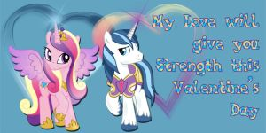 Princess Cadance and Shining Armor Valentine Card by Kurenai-Hio