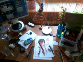 My desk~ by NoIchigONamE