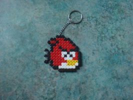 Red Angry Bird Keyring by TombRaiderKuchen