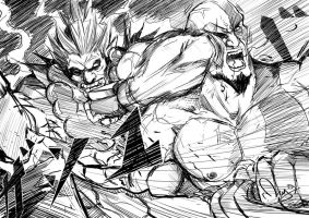 Akuma Vs Kratos by magion02