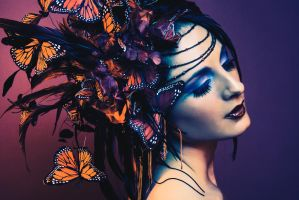 Red Butterfly Headdress by serpentfeathers