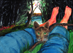 Cat in lap by the lake by CBSites