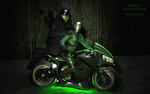 Green and Black: Motorcycle by Bloodsong13T