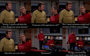 Curse of the Red Shirt by brainhiccup