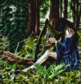 At Play in the Woods with Harp by theknitter